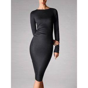 Wolford Graphite Wooljersey Ruched Long Slv Dress